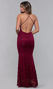 Image of long open-back lace formal dress. Style: CL-46554 Detail Image 4