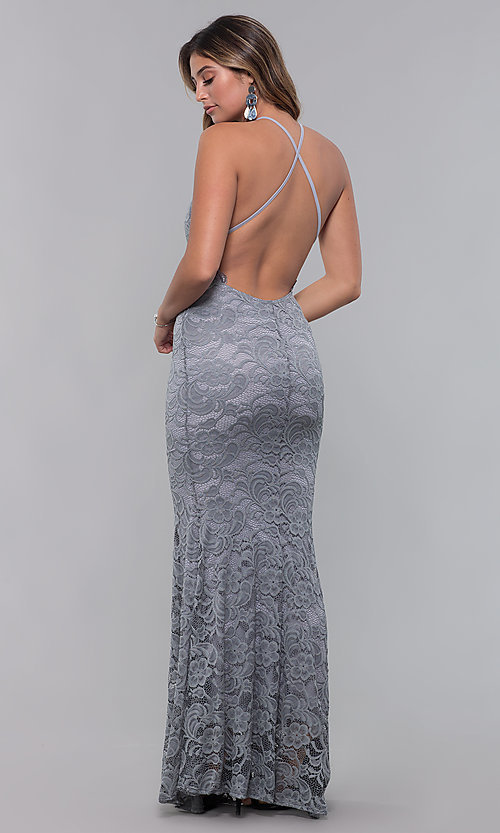Image of long open-back lace formal dress. Style: CL-46554 Detail Image 8