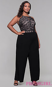 Image of black lace-bodice plus-size holiday jumpsuit. Style: AS-A9809U557X Front Image