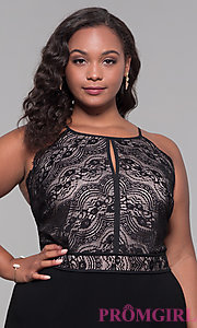 Image of black lace-bodice plus-size holiday jumpsuit. Style: AS-A9809U557X Detail Image 1