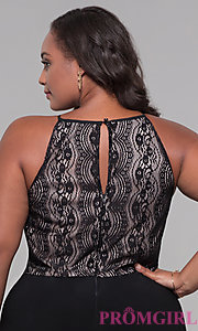 Image of black lace-bodice plus-size holiday jumpsuit. Style: AS-A9809U557X Detail Image 2