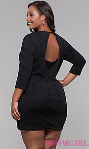 Image of black 3/4-sleeve short plus holiday party dress. Style: AS-A9499U9A45X Back Image