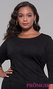 Image of black 3/4-sleeve short plus holiday party dress. Style: AS-A9499U9A45X Detail Image 1