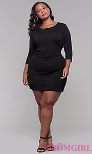 Image of black 3/4-sleeve short plus holiday party dress. Style: AS-A9499U9A45X Detail Image 3