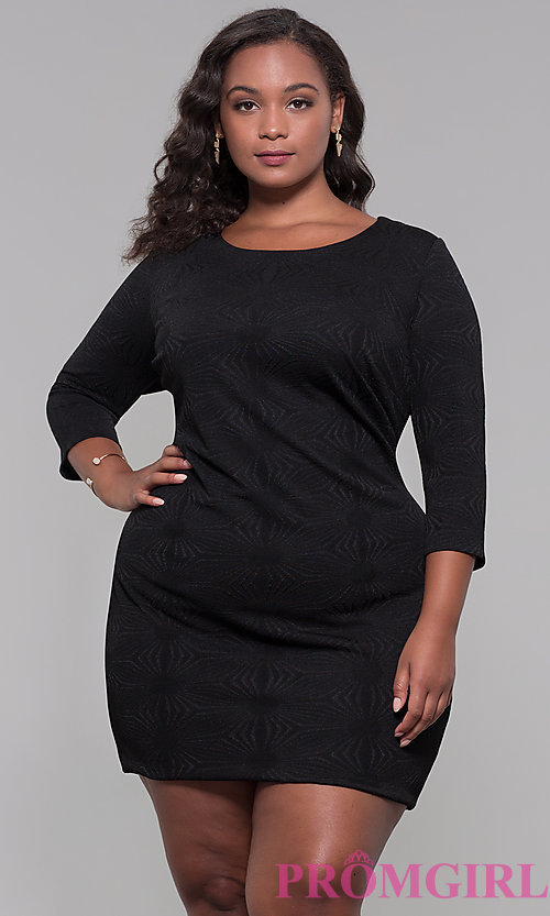 Image of black 3/4-sleeve short plus holiday party dress. Style: AS-A9499U9A45X Front Image