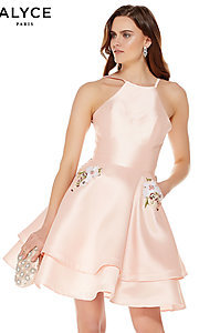Image of high-neck Alyce homecoming dress with pockets. Style: AL-3772 Front Image