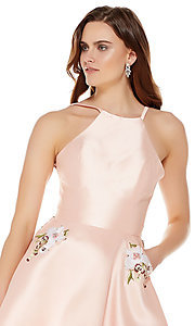 Image of high-neck Alyce homecoming dress with pockets. Style: AL-3772 Detail Image 1