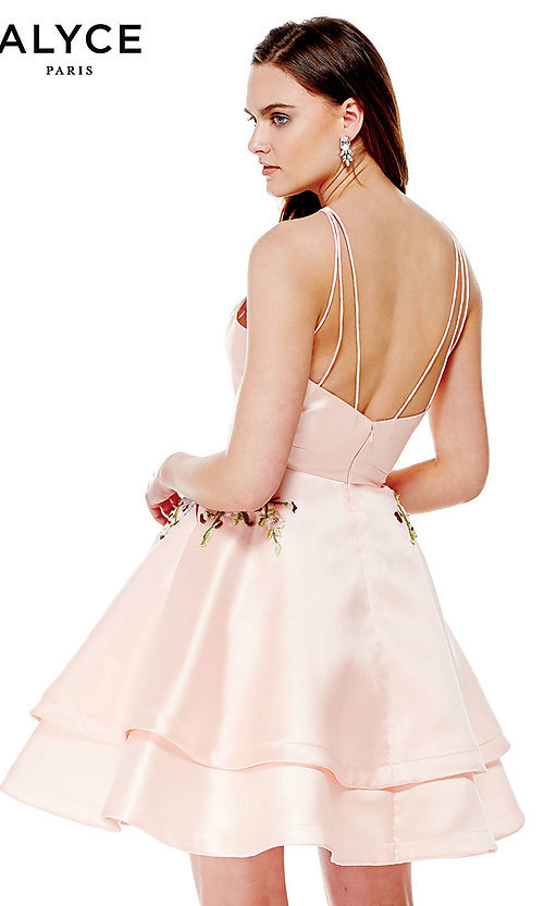 Image of high-neck Alyce homecoming dress with pockets. Style: AL-3772 Back Image