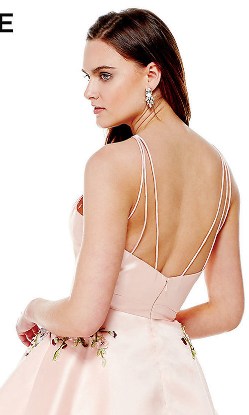 Image of high-neck Alyce homecoming dress with pockets. Style: AL-3772 Detail Image 2