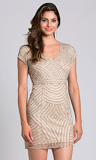 Short Cap-Sleeved Champagne Homecoming Dress