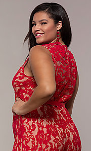 Image of plus-size wedding guest v-neck red lace jumpsuit. Style: JU-MA-292370 Detail Image 2