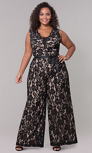 Wedding Guest V-Neck Lace Jumpsuit