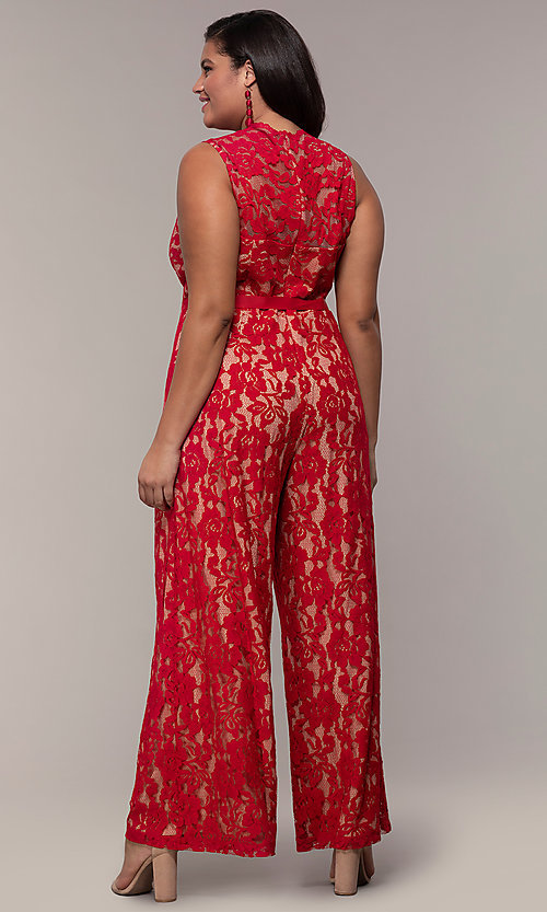 Image of plus-size wedding guest v-neck red lace jumpsuit. Style: JU-MA-292370 Back Image