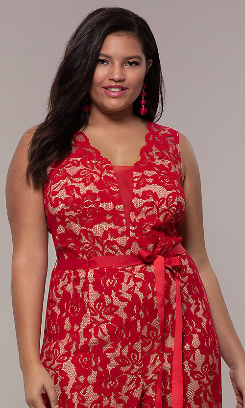 Image of plus-size wedding guest v-neck red lace jumpsuit. Style: JU-MA-292370 Detail Image 1
