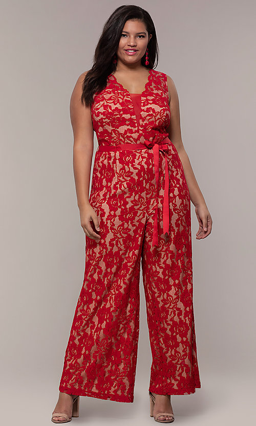 Image of plus-size wedding guest v-neck red lace jumpsuit. Style: JU-MA-292370 Detail Image 3