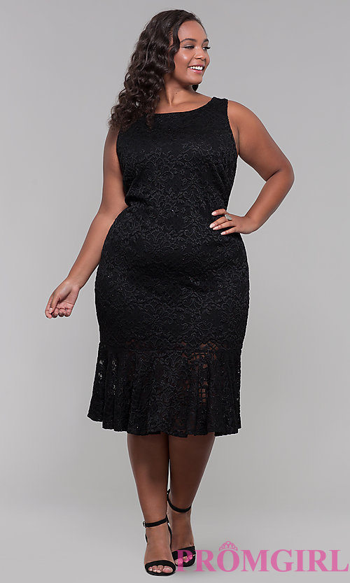 Image of short black lace plus-size wedding guest dress. Style: JU-MA-291815 Detail Image 3