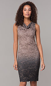 Image of knee-length ombre lace mocha wedding-guest dress. Style: JU-ON-650268 Front Image