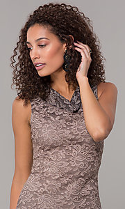 Image of knee-length ombre lace mocha wedding-guest dress. Style: JU-ON-650268 Detail Image 1