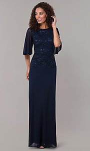 Image of mock-two-piece flutter-sleeve long formal MOB dress. Style: JU-ON-650272 Detail Image 3