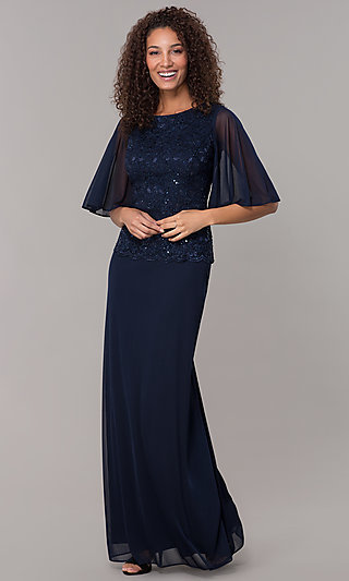 Mock-Two-Piece Flutter-Sleeve Long Formal MOB Dress