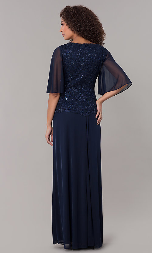 Image of mock-two-piece flutter-sleeve long formal MOB dress. Style: JU-ON-650272 Back Image