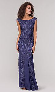 Image of long lace orchid blue mother-of-the-bride dress. Style: JU-ON-650312 Front Image