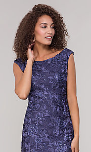 Image of long lace orchid blue mother-of-the-bride dress. Style: JU-ON-650312 Detail Image 1