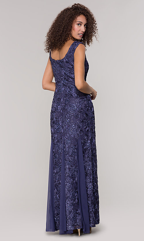 Image of long lace orchid blue mother-of-the-bride dress. Style: JU-ON-650312 Back Image