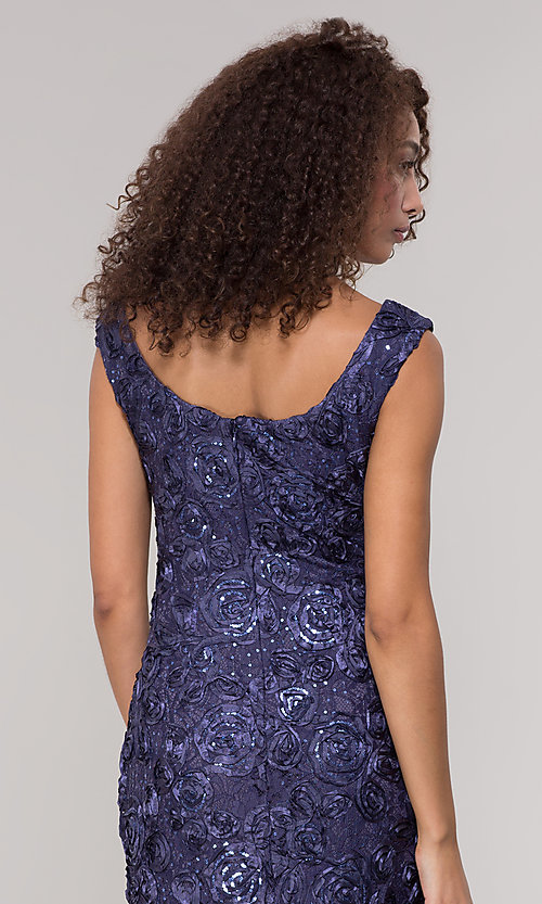 Image of long lace orchid blue mother-of-the-bride dress. Style: JU-ON-650312 Detail Image 2
