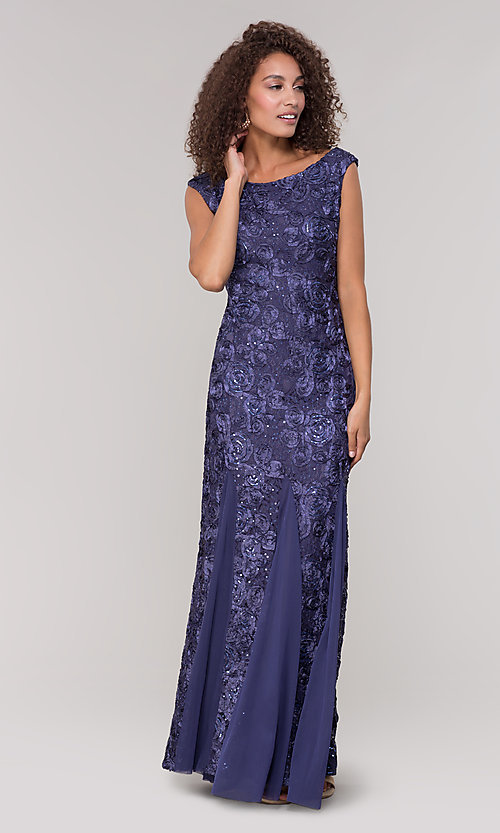 Image of long lace orchid blue mother-of-the-bride dress. Style: JU-ON-650312 Detail Image 3