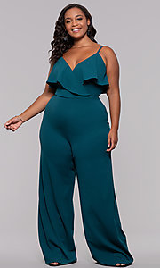 Image of v-neck plus-size wedding guest jumpsuit. Style: SY-IXB1384AP Detail Image 3