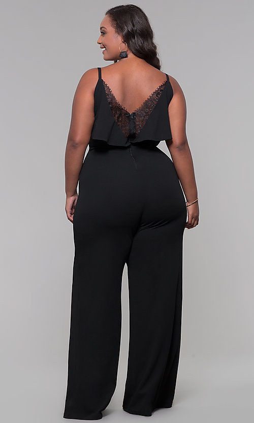 Image of v-neck plus-size wedding guest jumpsuit. Style: SY-IXB1384AP Back Image