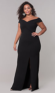 Image of long off-the-shoulder plus-size prom dress. Style: SY-IXD5144VP Detail Image 4