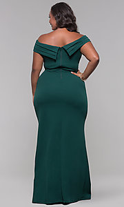 Image of long off-the-shoulder plus-size prom dress. Style: SY-IXD5144VP Detail Image 3