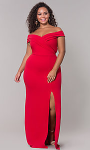 Image of long off-the-shoulder plus-size prom dress. Style: SY-IXD5144VP Detail Image 6