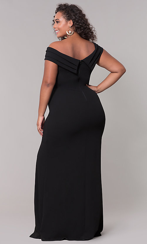 Image of long off-the-shoulder plus-size prom dress. Style: SY-IXD5144VP Detail Image 5