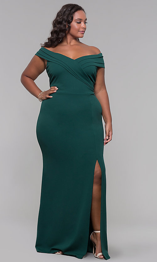 Image of long off-the-shoulder plus-size prom dress. Style: SY-IXD5144VP Detail Image 2