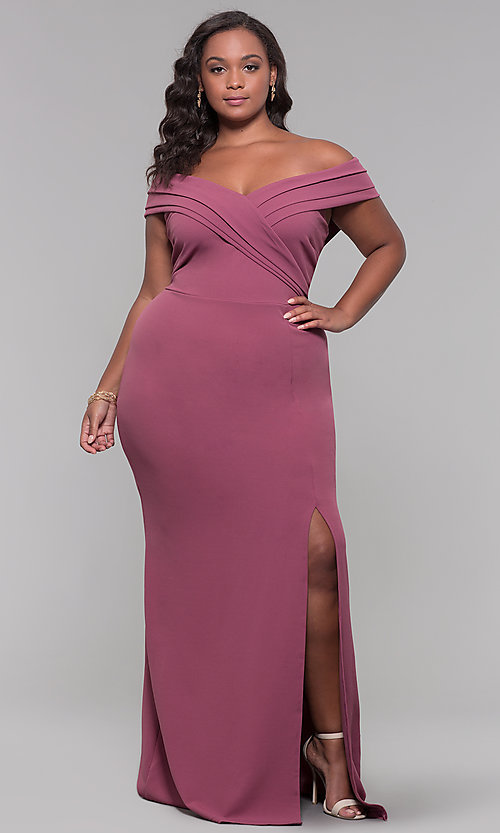 Image of long off-the-shoulder plus-size prom dress. Style: SY-IXD5144VP Front Image