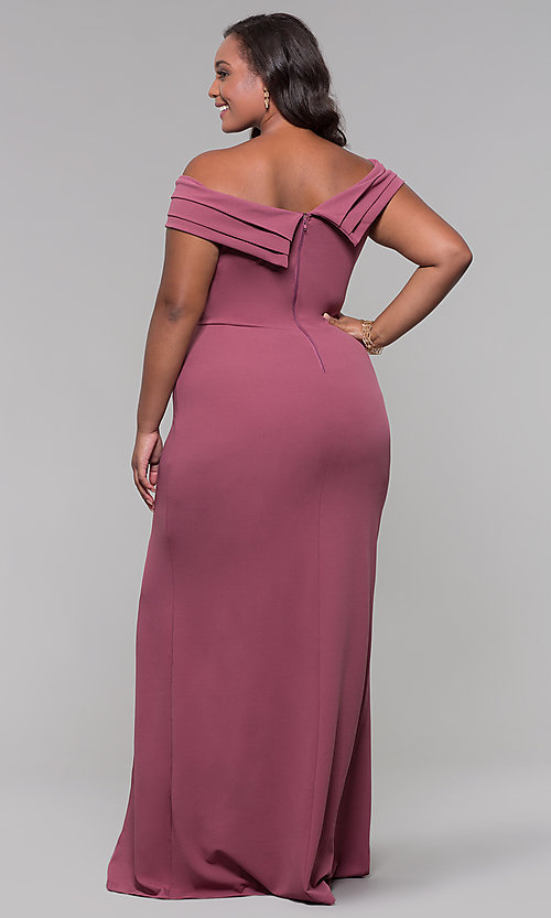 Image of long off-the-shoulder plus-size prom dress. Style: SY-IXD5144VP Back Image