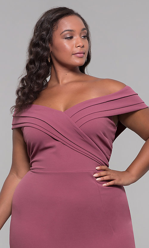 Image of long off-the-shoulder plus-size prom dress. Style: SY-IXD5144VP Detail Image 1