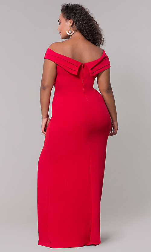 Image of long off-the-shoulder plus-size prom dress. Style: SY-IXD5144VP Detail Image 7