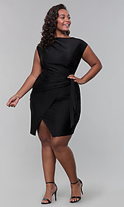 Image of satin mock-wrap short plus-size wedding guest dress. Style: SY-IXD5980AP Detail Image 3