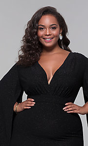 Image of plus-size glitter wedding-guest dress with sleeves. Style: SY-IXD6116AP Detail Image 6