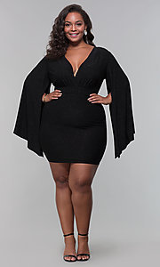 Image of plus-size glitter wedding-guest dress with sleeves. Style: SY-IXD6116AP Detail Image 7