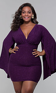 Image of plus-size glitter wedding-guest dress with sleeves. Style: SY-IXD6116AP Front Image