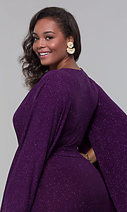 Image of plus-size glitter wedding-guest dress with sleeves. Style: SY-IXD6116AP Detail Image 2