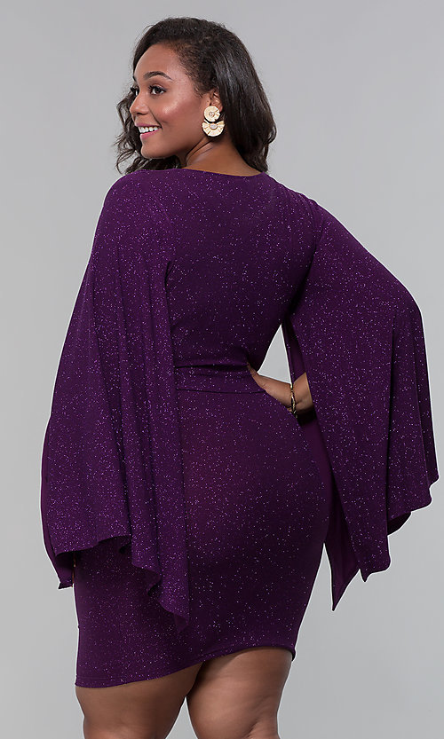 Image of plus-size glitter wedding-guest dress with sleeves. Style: SY-IXD6116AP Back Image