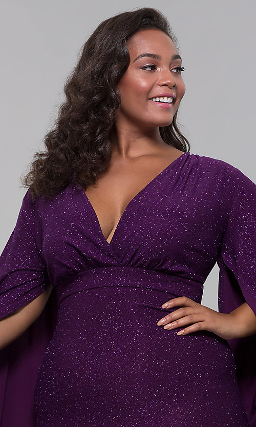 Image of plus-size glitter wedding-guest dress with sleeves. Style: SY-IXD6116AP Detail Image 1