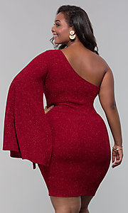 Image of one-shoulder short plus-size holiday glitter dress. Style: SY-IXD6148AP Back Image