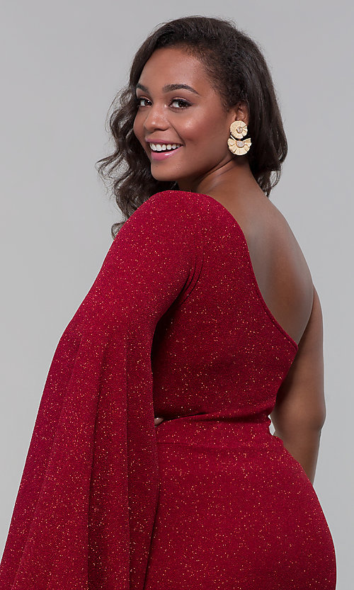 Image of one-shoulder short plus-size holiday glitter dress. Style: SY-IXD6148AP Detail Image 1